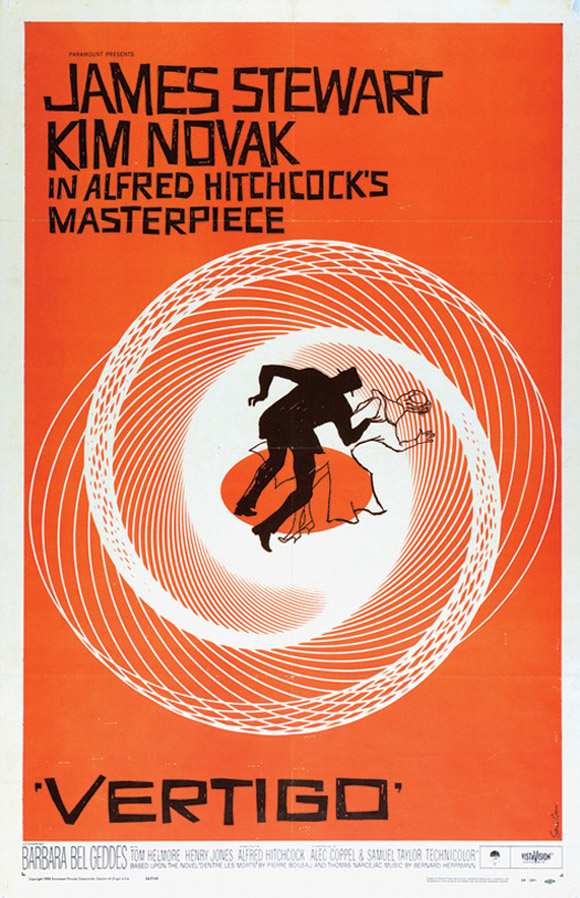 Pôster de Saul Bass e Art Goodman (ilustrador), para Um corpo que cai (1958). © Copyright Academy of Motion Picture Arts and Sciences.