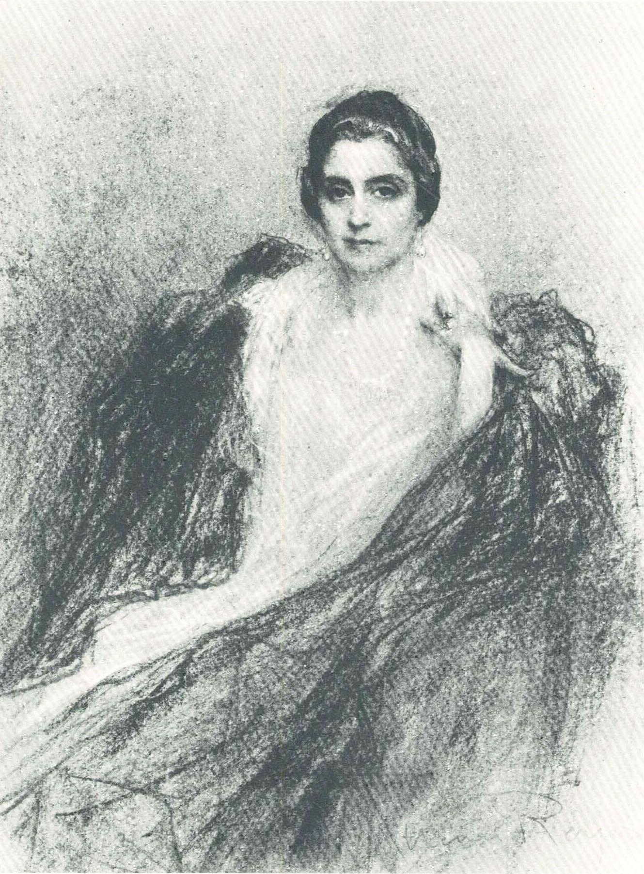 Retrato a crayon, de Branca Guinle, por Henri Royer