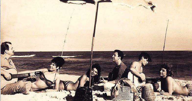 Sylva Koscina, João Gilberto, Tom Jobim and Mylene Demongeot in Copacabana Palace, 1962